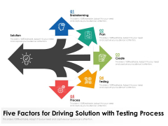 Five Factors For Driving Solution With Testing Process Ppt PowerPoint Presentation Ideas Format PDF