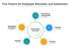 Five Factors For Employee Motivation And Satisfaction Ppt PowerPoint Presentation File Files PDF
