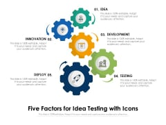 Five Factors For Idea Testing With Icons Ppt PowerPoint Presentation Infographics Gridlines PDF