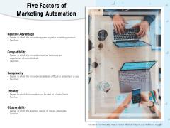 Five Factors Of Marketing Automation Ppt PowerPoint Presentation Summary Slideshow PDF