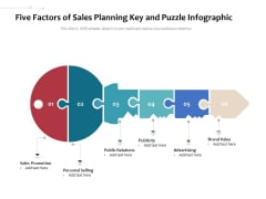 Five Factors Of Sales Planning Key And Puzzle Infographic Ppt PowerPoint Presentation Model Design Inspiration PDF