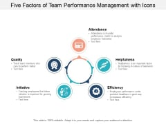 five factors of team performance management with icons ppt powerpoint presentation outline show