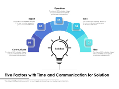 Five Factors With Time And Communication For Solution Ppt PowerPoint Presentation Portfolio File Formats PDF