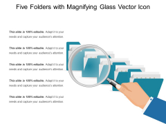 Five Folders With Magnifying Glass Vector Icon Ppt PowerPoint Presentation Summary Designs PDF
