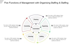 Five Functions Of Management With Organising Staffing And Staffing Ppt Powerpoint Presentation Summary Slide