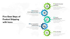 Five Gear Steps Of Product Shipping With Icons Ppt PowerPoint Presentation File Ideas PDF
