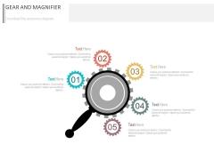 Five Gears Around Magnifier Powerpoint Slides