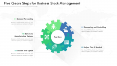Five Gears Steps For Business Stock Management Ppt PowerPoint Presentation Gallery Graphics PDF