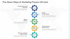 Five Gears Steps Of Marketing Process With Icons Ppt PowerPoint Presentation File Demonstration PDF