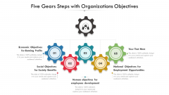 Five Gears Steps With Organizations Objectives Ppt PowerPoint Presentation Gallery Example PDF