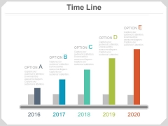 Five Growth Steps Timeline Graph Powerpoint Slides