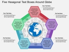 Five Hexagonal Text Boxes Around Globe Powerpoint Template