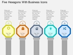 Five Hexagons With Business Icons Powerpoint Templates