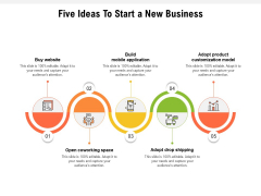 Five Ideas To Start A New Business Ppt PowerPoint Presentation Infographic Template Vector PDF
