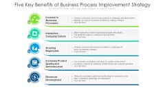 Five Key Benefits Of Business Process Improvement Strategy Ppt PowerPoint Presentation Gallery Show PDF