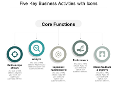 Five Key Business Activities With Icons Ppt Powerpoint Presentation Slides Graphics Pictures