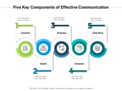 Five Key Components Of Effective Communication Ppt PowerPoint Presentation Gallery Visuals PDF