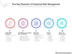 Five Key Elements Of Enterprise Risk Management Ppt PowerPoint Presentation Gallery Infographic Template PDF