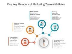 Five Key Members Of Marketing Team With Roles Ppt PowerPoint Presentation Inspiration Information PDF