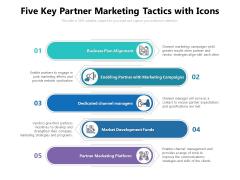 Five Key Partner Marketing Tactics With Icons Ppt PowerPoint Presentation Portfolio Structure PDF
