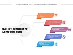 Five Key Remarketing Campaign Ideas Ppt PowerPoint Presentation Icon Slides PDF
