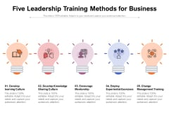 Five Leadership Training Methods For Business Ppt PowerPoint Presentation File Icon PDF