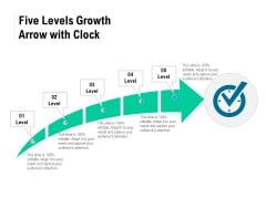 Five Levels Growth Arrow With Clock Ppt PowerPoint Presentation Gallery Ideas PDF