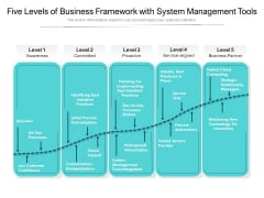 Five Levels Of Business Framework With System Management Tools Ppt PowerPoint Presentation File Ideas PDF