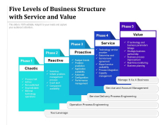 Five Levels Of Business Structure With Service And Value Ppt PowerPoint Presentation Gallery Show PDF