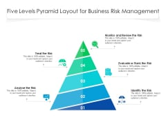 Five Levels Pyramid Layout For Business Risk Management Ppt PowerPoint Presentation Gallery Icon PDF