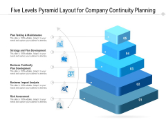 Five Levels Pyramid Layout For Company Continuity Planning Ppt PowerPoint Presentation Gallery Inspiration PDF