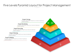 Five Levels Pyramid Layout For Project Management Ppt PowerPoint Presentation File Layout Ideas PDF