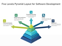 Five Levels Pyramid Layout For Software Development Ppt PowerPoint Presentation File Deck PDF