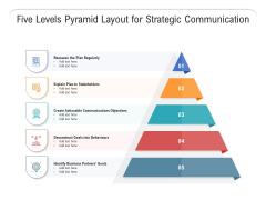 Five Levels Pyramid Layout For Strategic Communication Ppt PowerPoint Presentation Icon Deck PDF