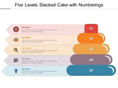 Five Levels Stacked Cake With Numberings Ppt PowerPoint Presentation Slides Example PDF