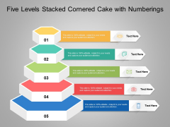 Five Levels Stacked Cornered Cake With Numberings Ppt PowerPoint Presentation Slides Pictures PDF