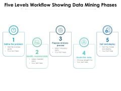Five Levels Workflow Showing Data Mining Phases Ppt PowerPoint Presentation Gallery Examples PDF