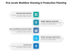 Five Levels Workflow Showing In Production Planning Ppt PowerPoint Presentation Gallery Background PDF