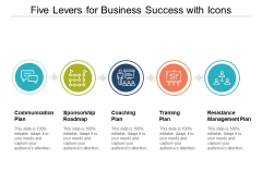 Five Levers For Business Success With Icons Ppt PowerPoint Presentation Pictures Example File