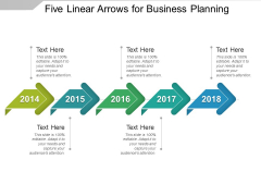 Five Linear Arrows For Business Planning Ppt PowerPoint Presentation Model Topics
