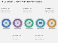 Five Linear Circles With Business Icons Powerpoint Template
