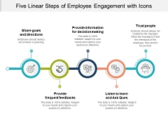 Five Linear Steps Of Employee Enagement With Icons Ppt PowerPoint Presentation Styles Example Introduction