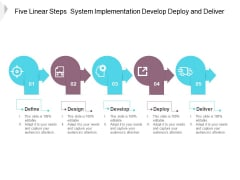 Five Linear Steps System Implementation Develop Deploy And Deliver Ppt PowerPoint Presentation Pictures Elements