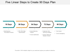 Five Linear Steps To Create 90 Days Plan Ppt PowerPoint Presentation Layouts Inspiration