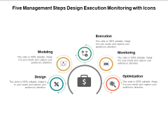 Five Management Steps Design Execution Monitoring With Icons Ppt PowerPoint Presentation Inspiration Layouts