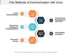 Five Methods Of Communication With Icons Ppt Powerpoint Presentation File Portfolio