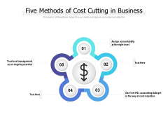 Five Methods Of Cost Cutting In Business Ppt PowerPoint Presentation Portfolio Grid