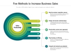 Five Methods To Increase Business Sales Ppt PowerPoint Presentation Professional Show PDF
