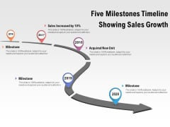 Five Milestones Timeline Showing Sales Growth Ppt PowerPoint Presentation Icon Rules