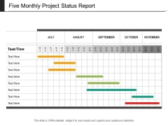Five Monthly Project Status Report Ppt PowerPoint Presentation Professional Ideas